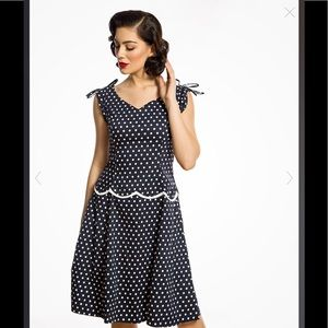 Hilda Vintage 1950s Blue Polka Dot Dress Lindy Bop